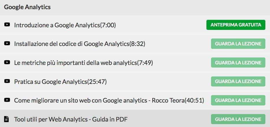 argomenti Google Analytics